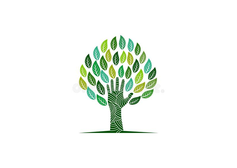 Hand tree logo royalty free illustration