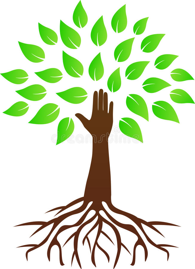 Hand tree with roots. A vector drawing represents hand tree with roots design
