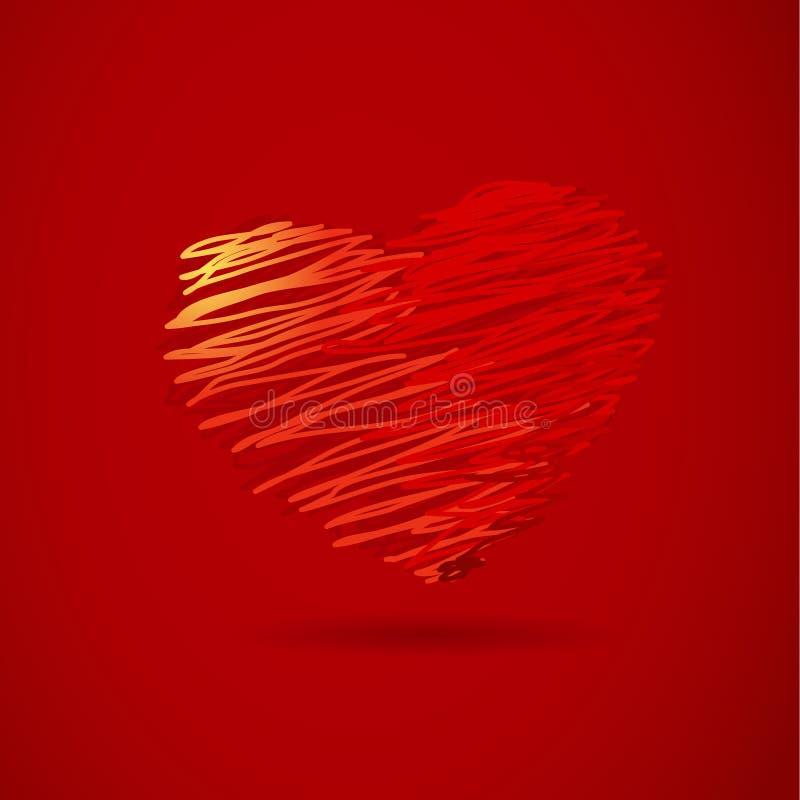 Hand-trek rood hart. vector illustratie