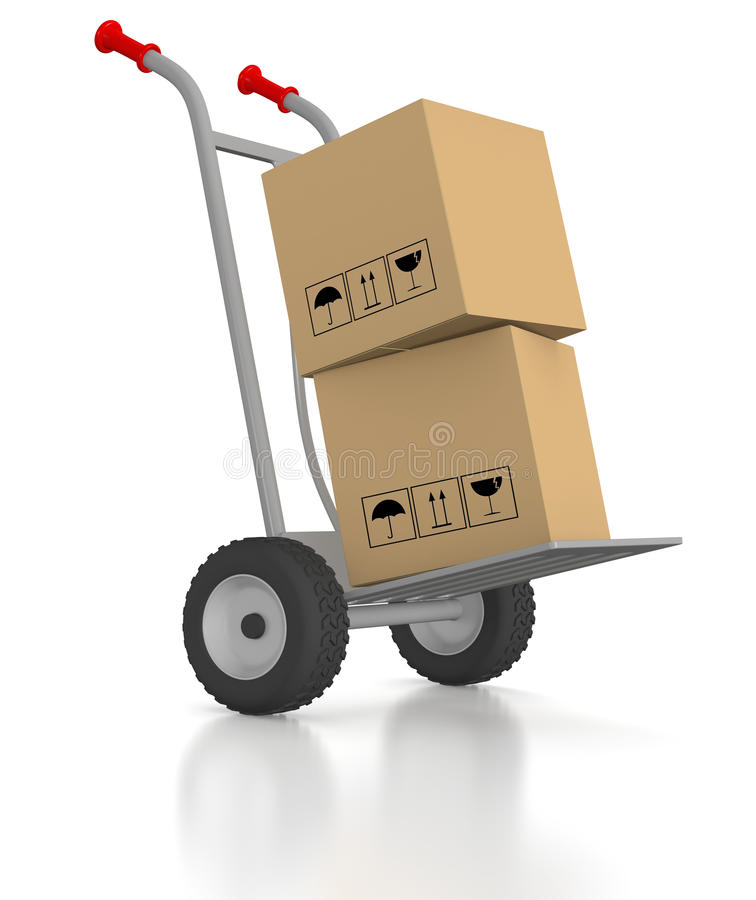 Hand Trolley With 2 Cardboard Boxes Stock Photos
