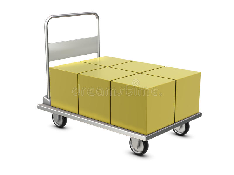 Hand trolley with boxes stock illustration