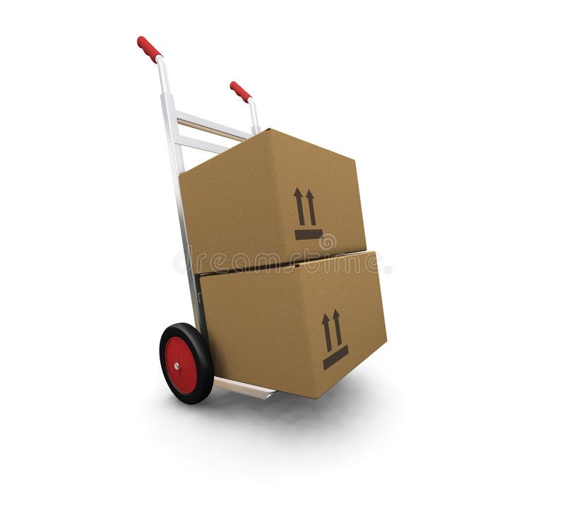 Hand truck with boxes vector illustration