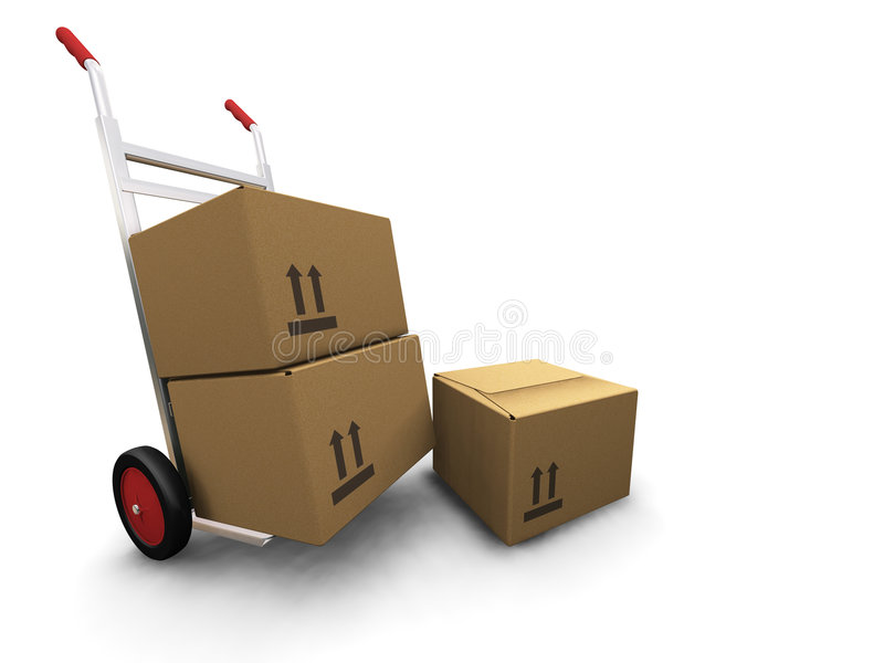 Download Hand truck with boxes stock illustration. Illustration of isolated - 1355693
