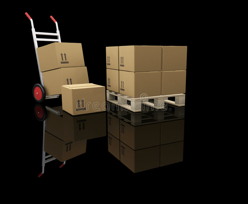 Hand Truck With Boxes Royalty Free Stock Photos