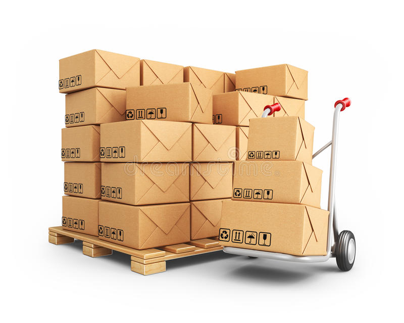 Hand truck with cardboard boxes. 3D Icon isolated stock illustration
