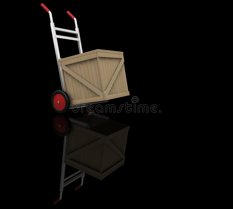 Download Hand Truck With Crate Stock Image - Image: 1411531