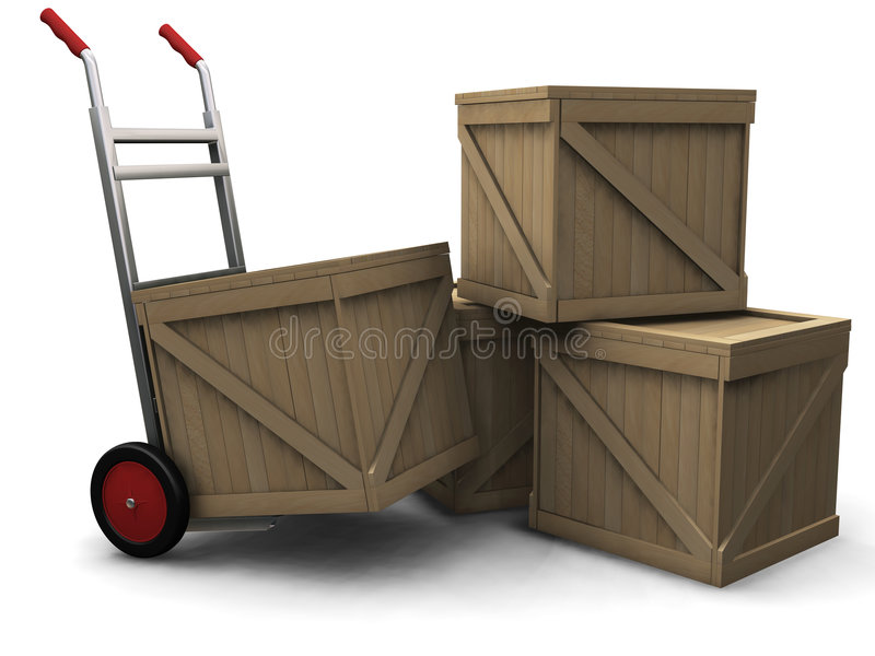 Download Hand truck with crates stock illustration. Image of white - 1411498