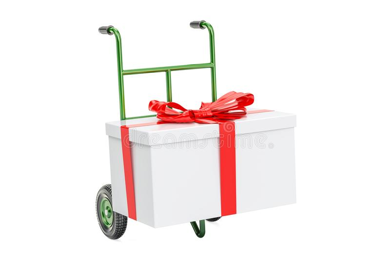 Hand truck with gift box. Gift delivery concept, 3D rendering stock illustration