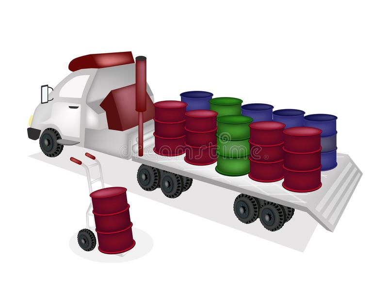Download Hand Truck Loading Oil Barrels Into Tractor Traile Stock Photography - Image: 35531892