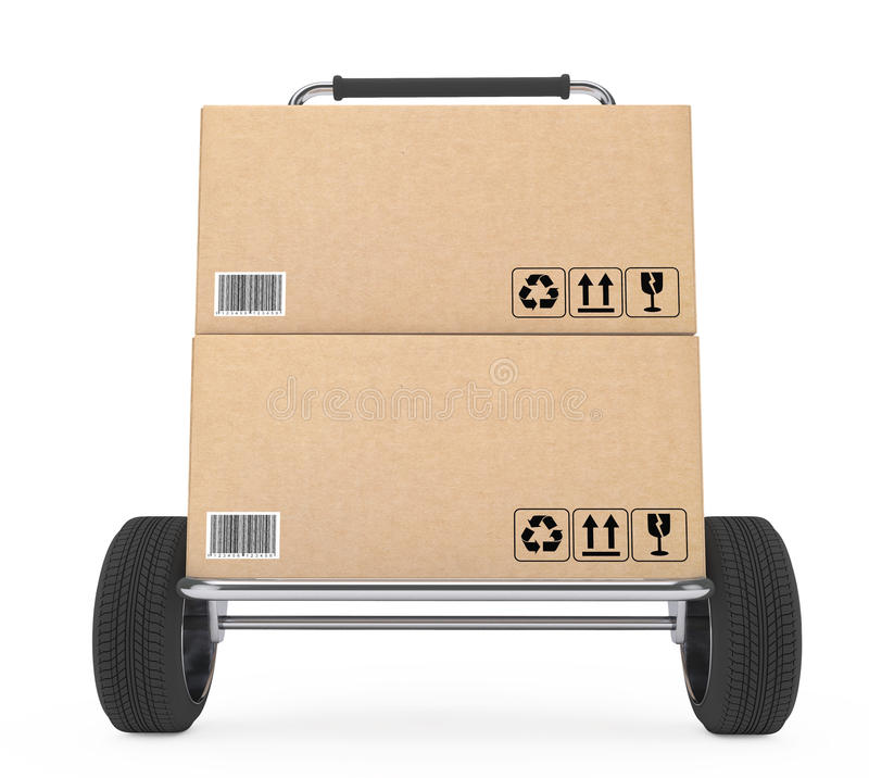 Hand Truck with Parcel Cardboard Boxes. 3d Rendering stock illustration