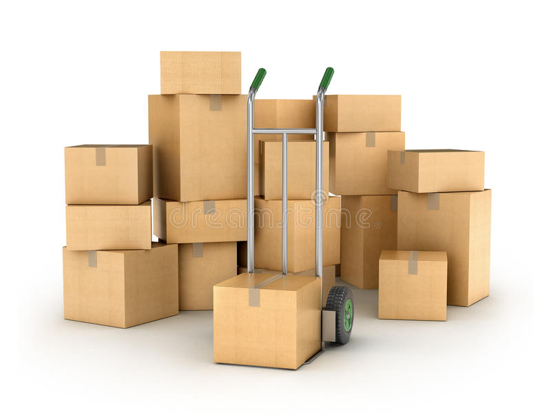 Hand truck with a Pile of cardboard boxes. royalty free stock photos