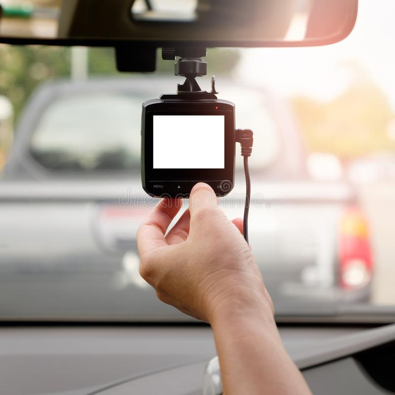 Hand-tuning car camera for safety on the road accident stock images