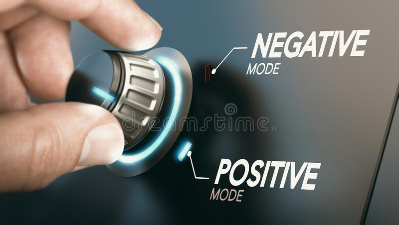 Change to positive attitude. Psychology concept. Hand turning a knob to switch from negative to positive mindset. Psychology concept. Composite image between a stock photography
