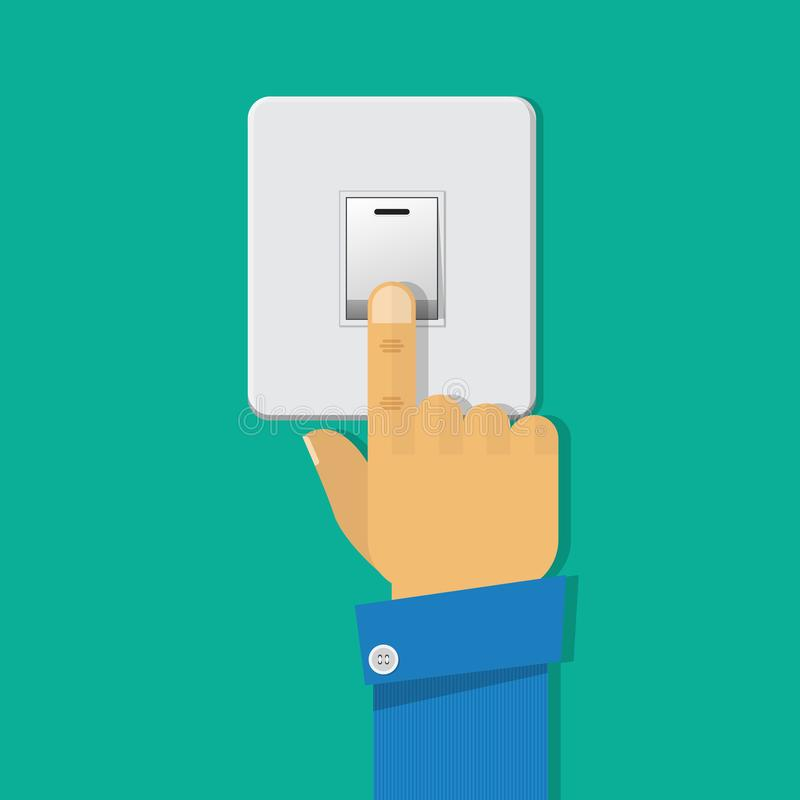 Hand turning off the light switch. stock illustration