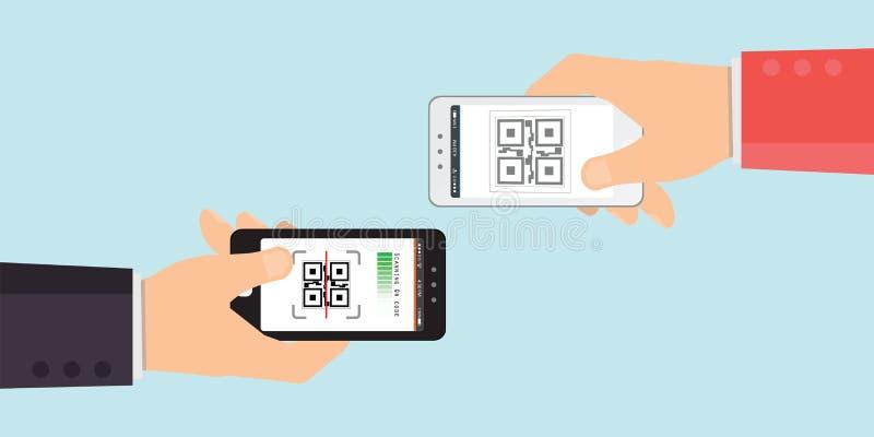 Hand twee die mobiele telefoon aan aftastenqr-code, Elektronische vlakke het ontwerp Vectorillustratie houden van de aftasten dig royalty-vrije illustratie
