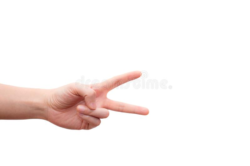 Hand with two fingers up in the peace or victory symbol. Also the sign for the letter V in sign language isolated on white backgro royalty free stock photography