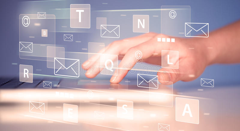 Hand Typing On Keyboard With Digital Tech Icons Stock Photo Image
