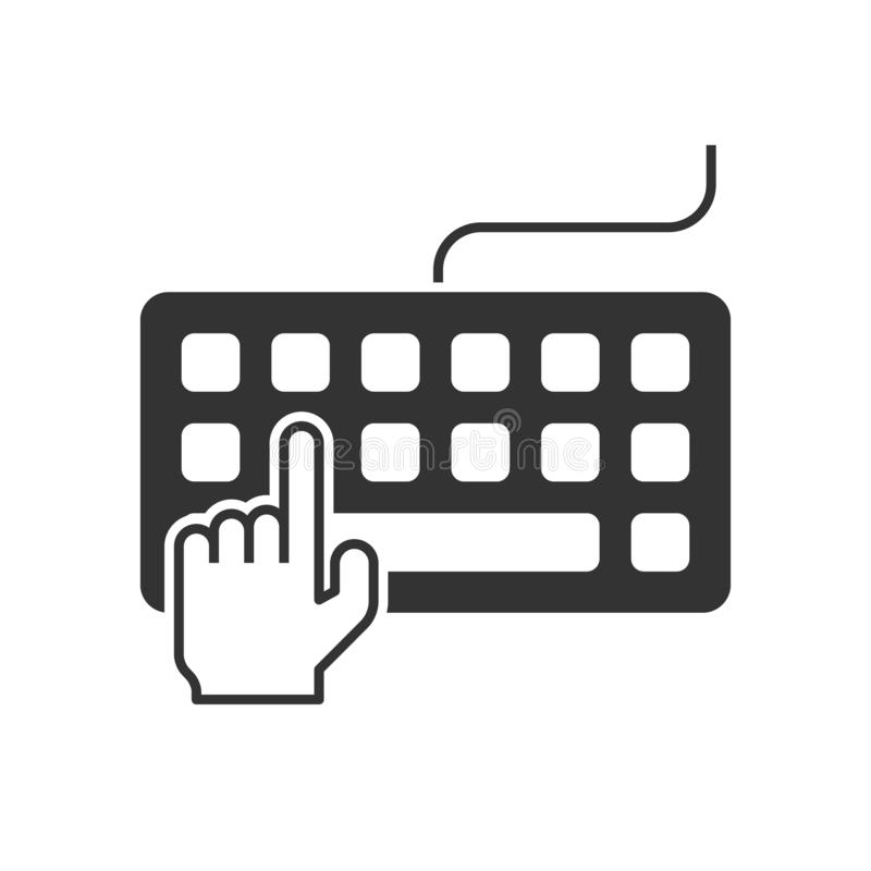 Hand typing on keyboard. Icon royalty free illustration