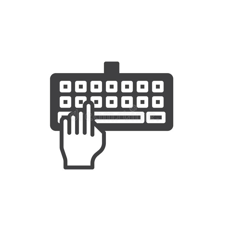 Hand typing keyboard icon vector vector illustration