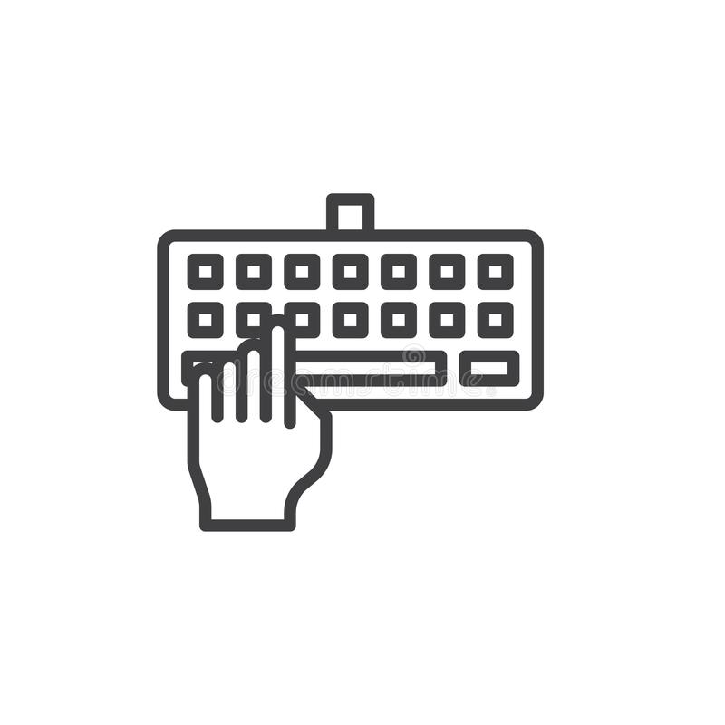 Hand typing keyboard line icon vector illustration