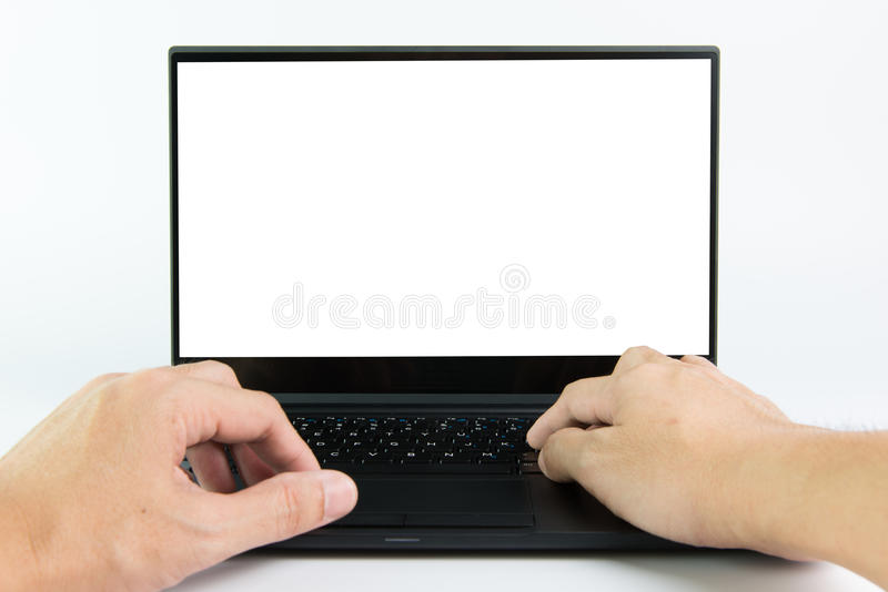 Hand typing laptop computer royalty free stock images
