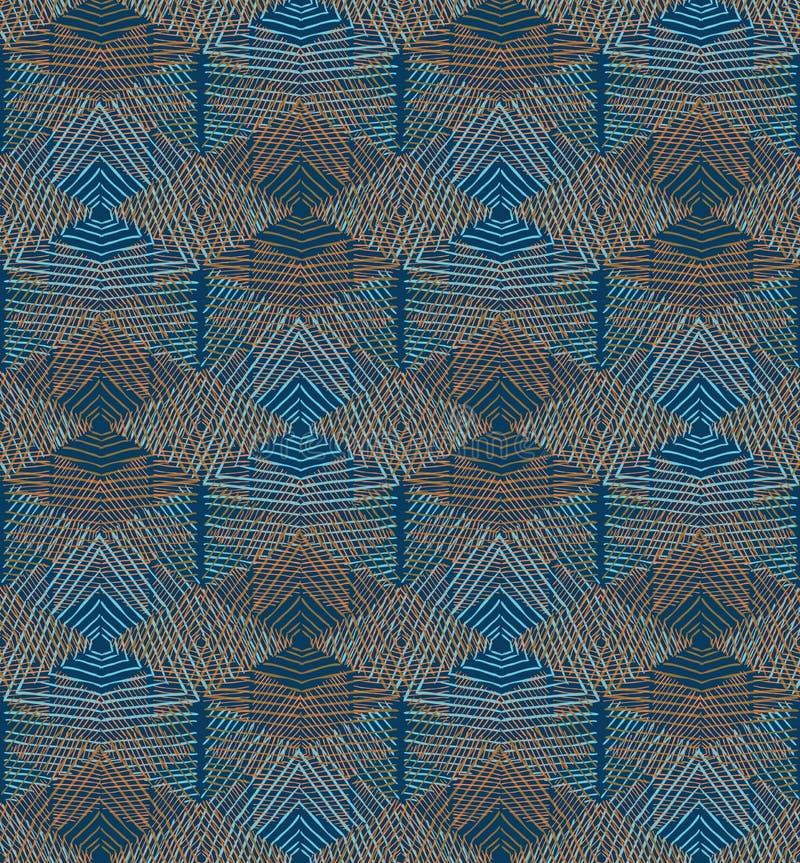 Hand uitgebroede diamanten met blauw en bruin stock illustratie