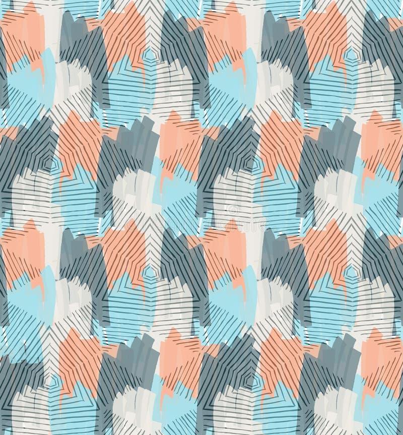 Hand uitgebroede diamanten met blauwe en oranje teller vector illustratie