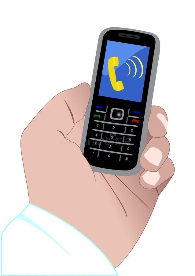Hand und benennen Handy lizenzfreie abbildung