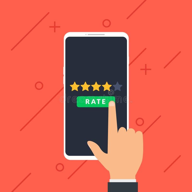 Hand- und Beurteilung der Kreditwürdigkeit eines Kunden mit fünf Sternen auf Smartphone Geschäftserfolgfünf Sterne, die Feedbackk lizenzfreie abbildung