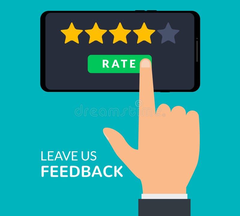 Hand- und Beurteilung der Kreditwürdigkeit eines Kunden mit fünf Sternen Geschäftserfolgfünf Sterne, die Feedbackklassifizierungs stock abbildung