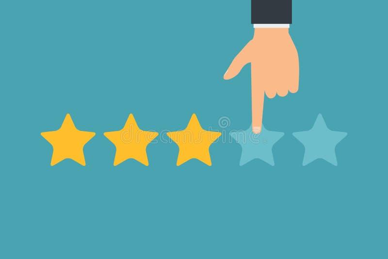 Hand- und Beurteilung der Kreditwürdigkeit eines Kunden mit fünf Sternen Geschäftserfolgfünf Sterne, die Feedbackklassifizierungs vektor abbildung