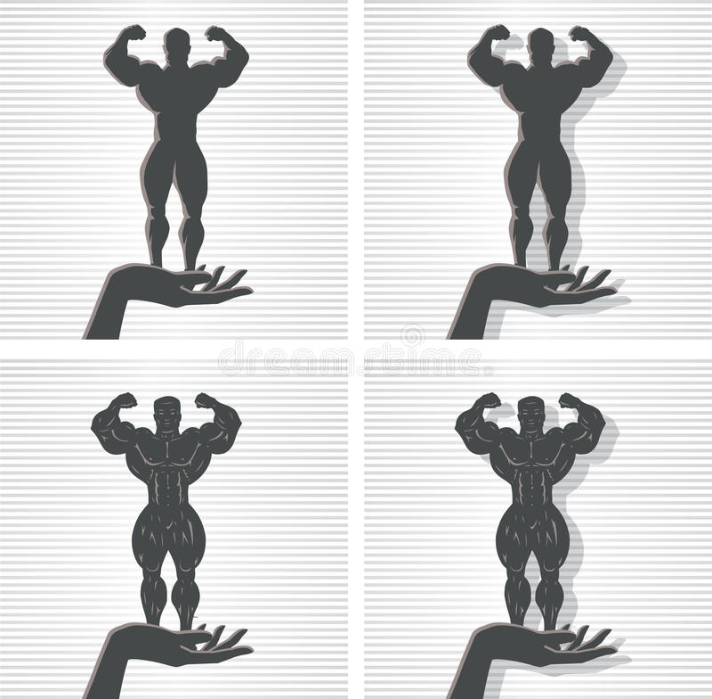 Hand und Bodybuilder stock abbildung