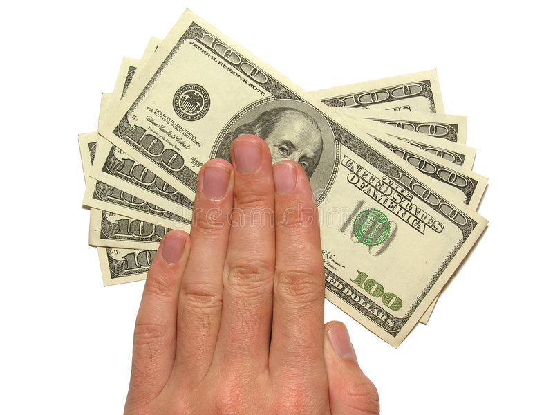 Hand und Dollar lizenzfreie stockbilder