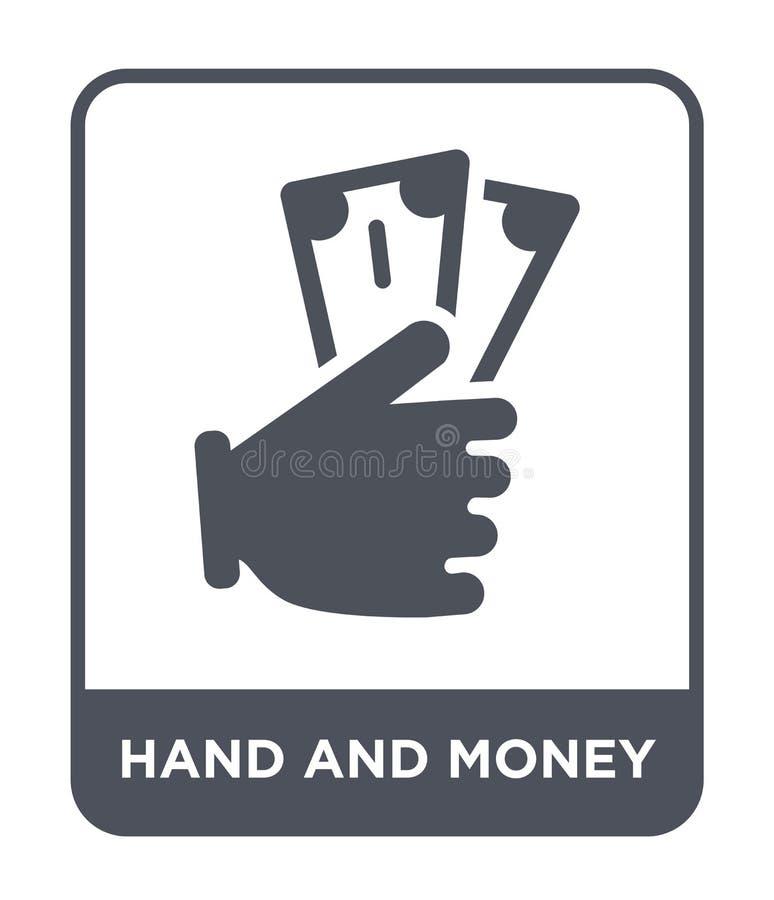 Hand- und Geldikone in der modischen Entwurfsart Hand- und Geldikone lokalisiert auf weißem Hintergrund Hand- und Geldvektorikone lizenzfreie abbildung
