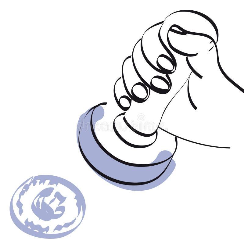 Hand und Stempel stock abbildung