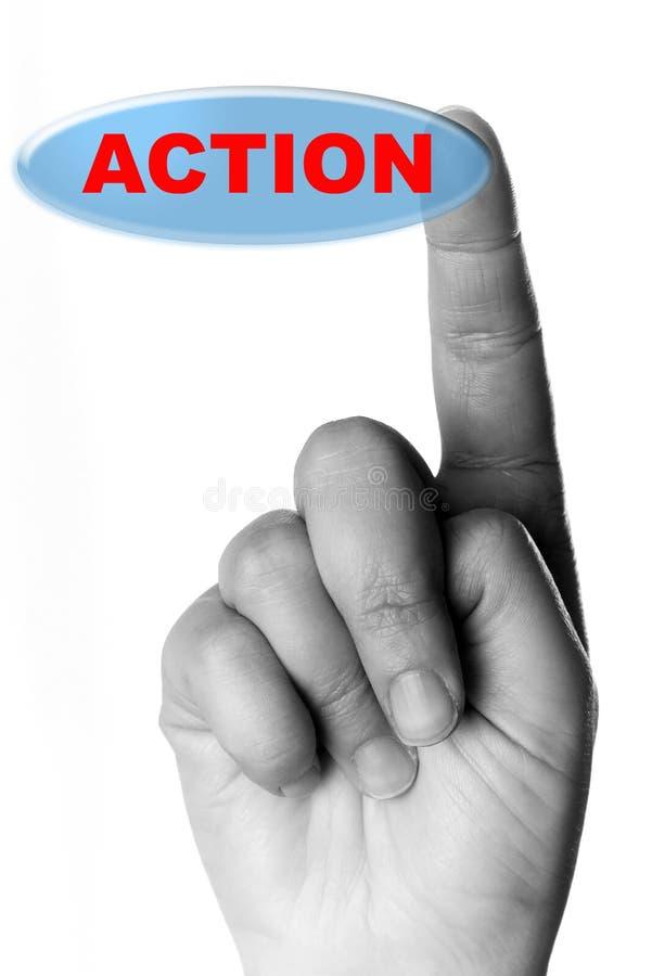 Hand und Taste mit dem Wort getrennt auf Weiß stockbilder