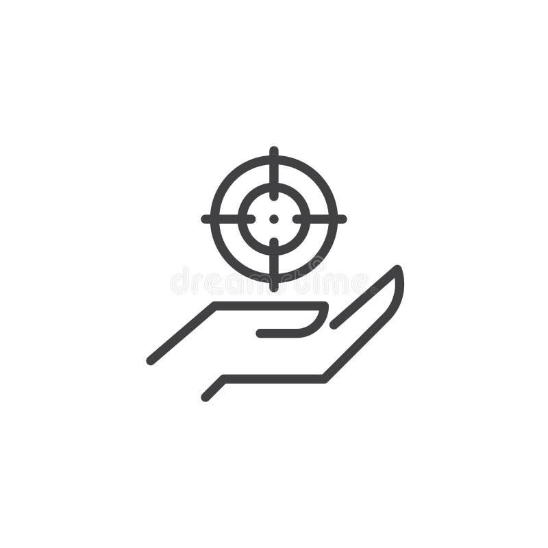 Hand- und Zielentwurfsikone vektor abbildung