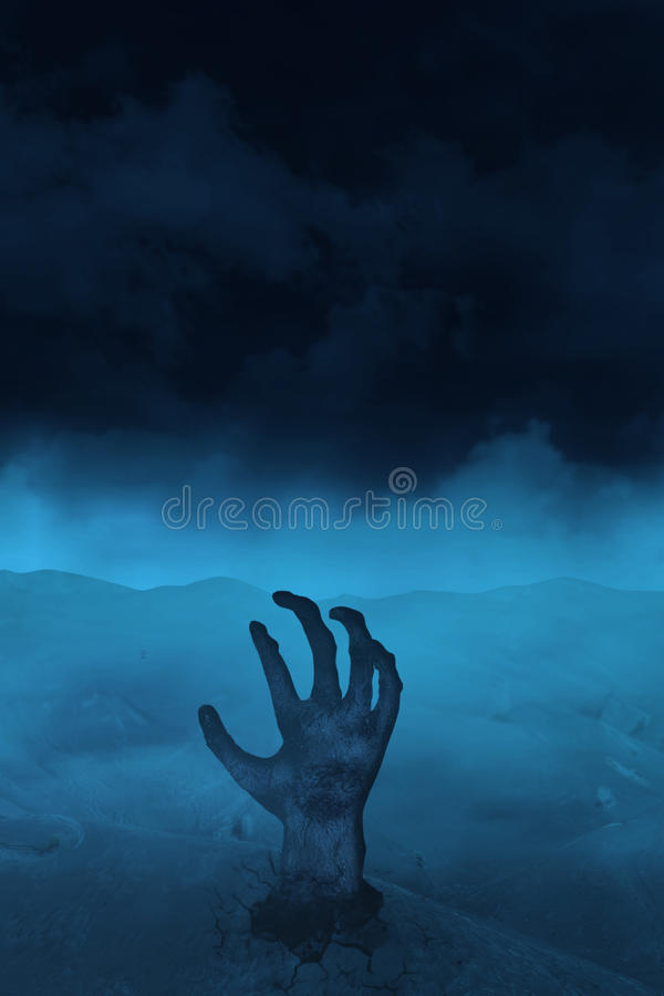 Hand of undead on blue stock image