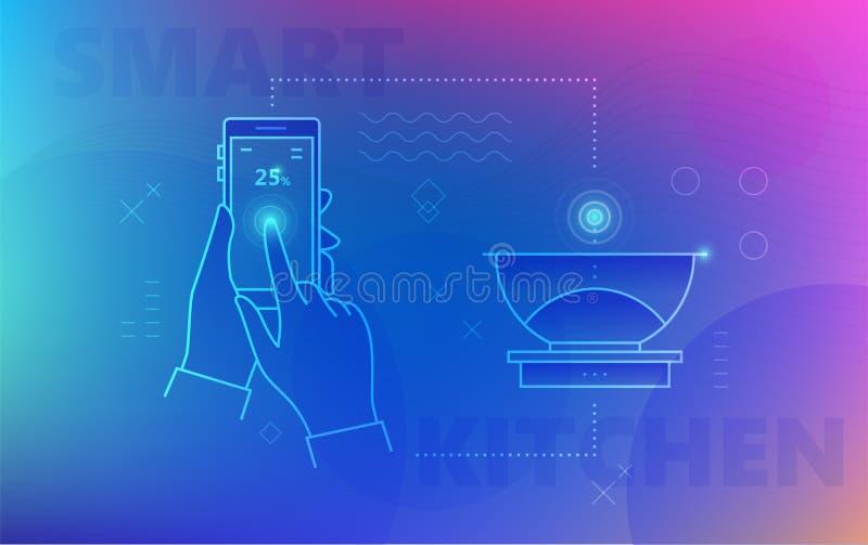 Hand unter Verwendung des Smartphone für intelligente Skalen vektor abbildung