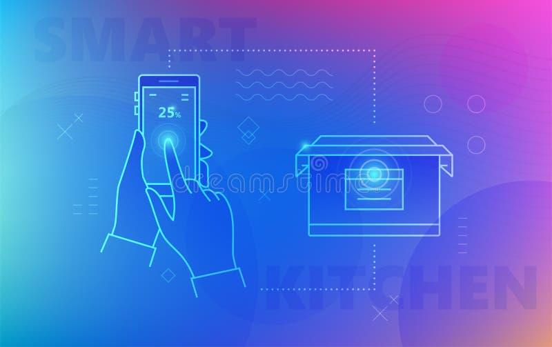 Hand unter Verwendung des Smartphone für intelligenten Kocher stock abbildung