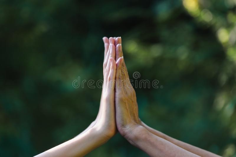Hand up of female in garden nature  background teamwork concept. Hand up of female in garden nature background teamwork concept royalty free stock photo