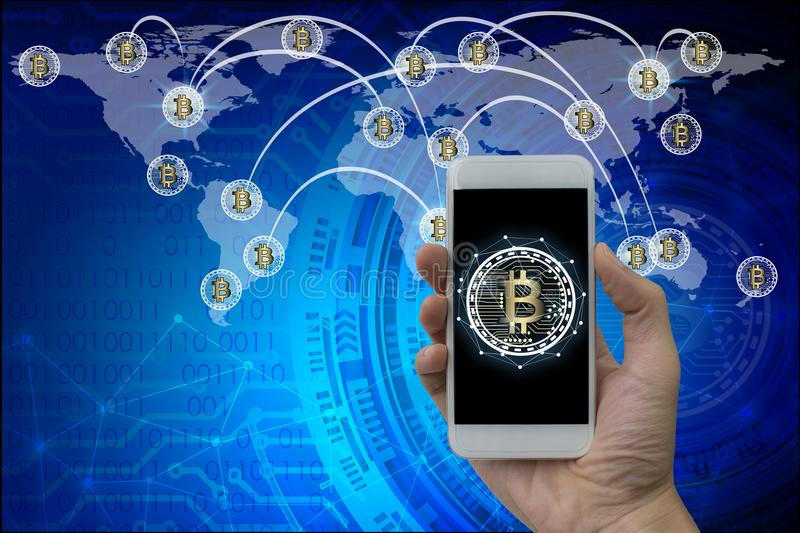 Hand use smartphone bitcoin and blockchain network connection, S. Tock exchange concept royalty free stock images