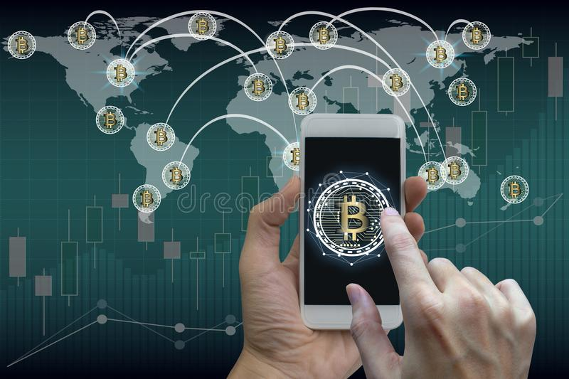 Hand use smartphone bitcoin and blockchain network connection, S. Tock exchange concept royalty free stock photo