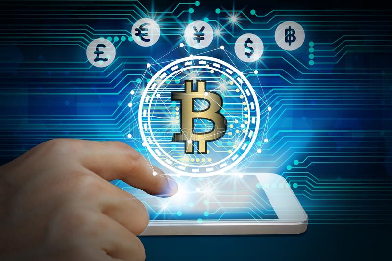 Hand use smartphone bitcoin and blockchain network connection, S. Tock exchange concept stock image