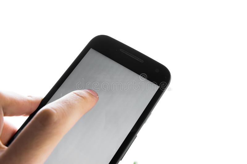 Hand Using Blank White Screen Cell Phone Press Finger Isolated. Hand Using Blank White Screen Cell Phone Press Finger royalty free stock image