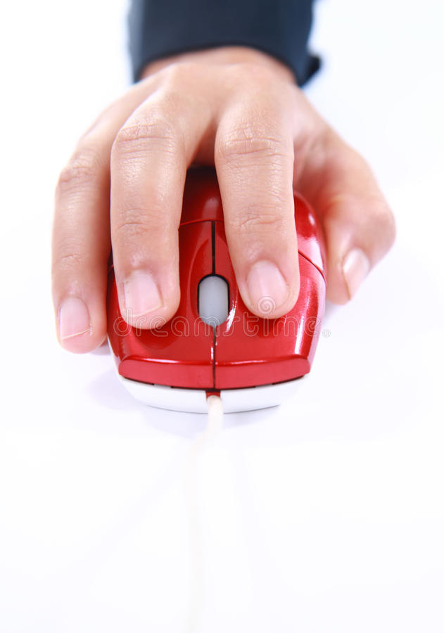 Hand using a computer mouse stock images