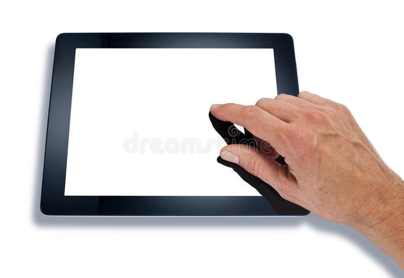 Hand Using Computer Tablet. A computer tablet with a hand touching a blank screen