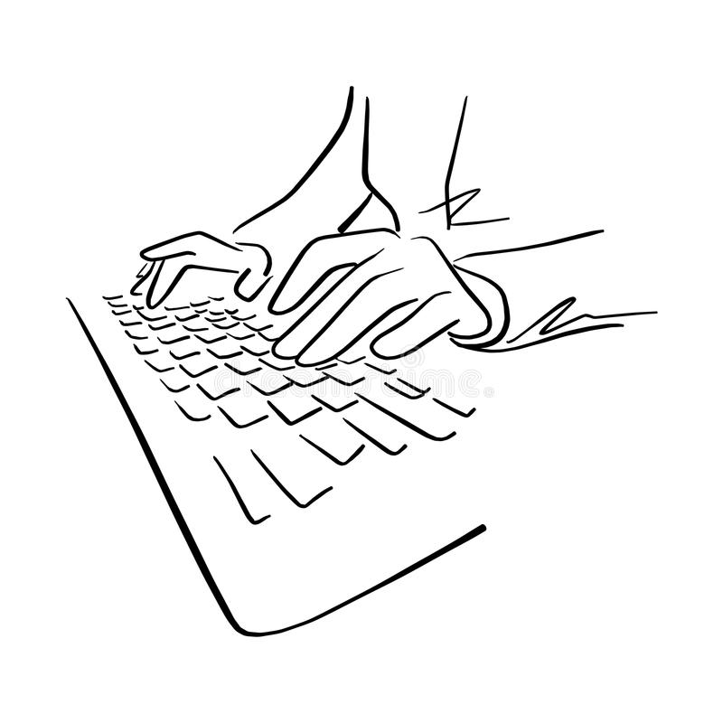 Hand using keyboard of computer vector illustration sketch hand royalty free illustration