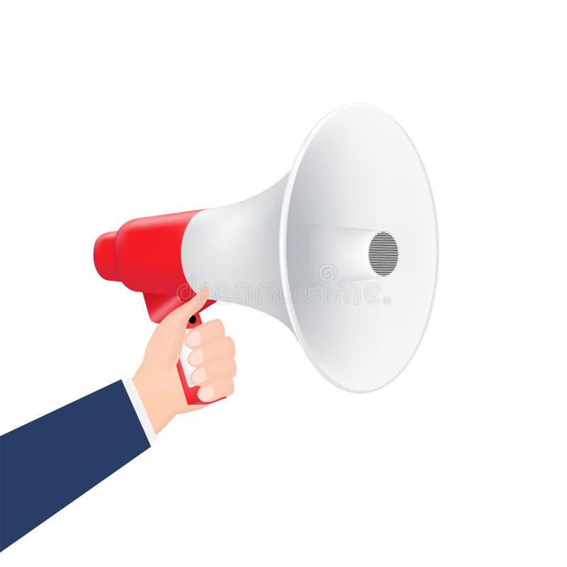 Hand using megaphone on a white background royalty free illustration