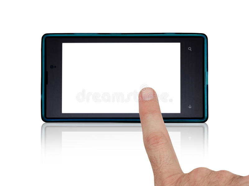 Hand using mobile touch screen. Image shows a male finger using a touch smart phone. Additional file has the image's white background transparent royalty free stock photo